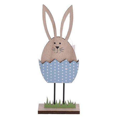 Veľkonočná dekorácia Zajačik vo vajíčku modrá, 21 cm