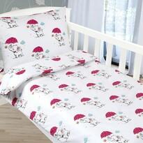 Bellatex Detské bavlnené obliečky Agáta Sloníky v daždi, 90 x 135 cm, 45 x 60 cm