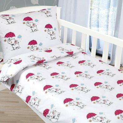 Bellatex Agáta Elefántok az esőben gyermek pamut  ágynemű, 90 x 135 cm, 45 x 60 cm