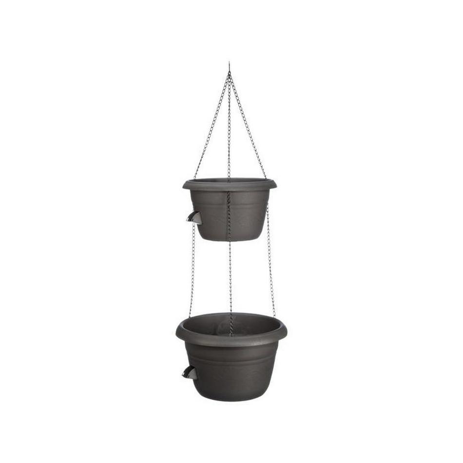 Jardinieră cu auto-irigare Plastia Siesta Duo, cuagățătoare metalică gri imagine 2021 e4home.ro