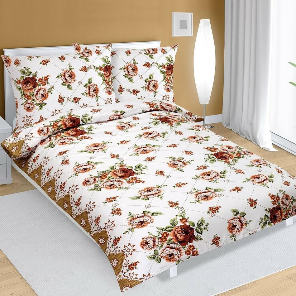 Bellatex Bavlnené obliečky Ruže hnedá, 140 x 220 cm, 70 x 90 cm