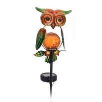 Solární lampa Owl zelená, 12 x 6 x 54 cm