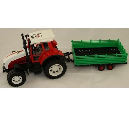 Traktor s přívěsem, velký, bílá + červená