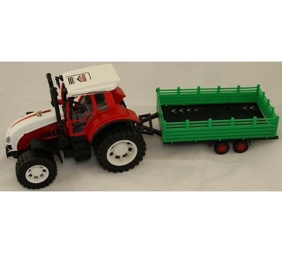 Traktor s prívesom, veľký, biela + červená