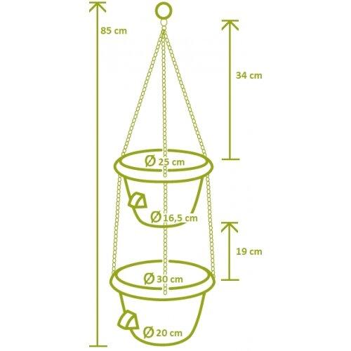 Plastia Siesta Duo Önöntöző virágtartó fém lánccalterrakotta
