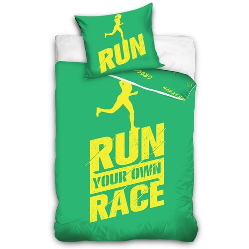 Perkálové obliečky Run zelená, 140 x 200 cm, 70 x 90 cm
