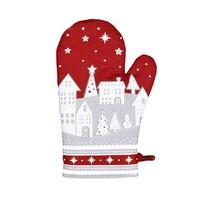 Téli kisfalu karácsonyi edényfogó, piros, 18 x 28 cm