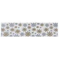 Travesă Snowflakes albă, 33 x 140 cm