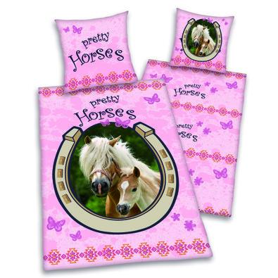 Dětské bavlněné povlečení Pretty Horses, 140 x 200 cm, 70 x 90 cm