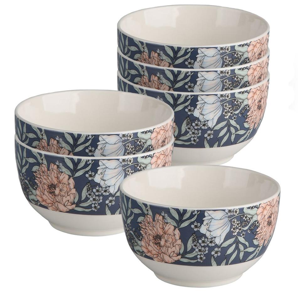 Altom Sada porcelánových misiek Flower Jeans 13 cm, 6 ks