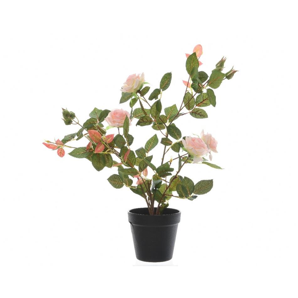 Umělý Růžový keř v květináči růžová, 50 cm