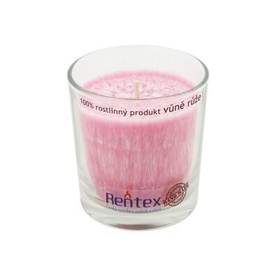 Palmová vonná svíčka ve skle růže