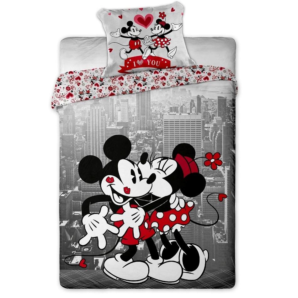 Jerry Fabrics Dětské bavlněné povlečení Mickey a Minnie in NY 140x200 70x90