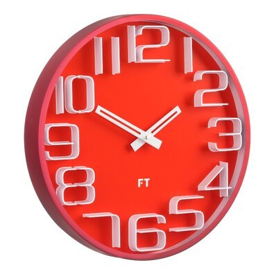 Ceas de perete Future Time FT8010RD Numbers, de design, diam. 30 cm