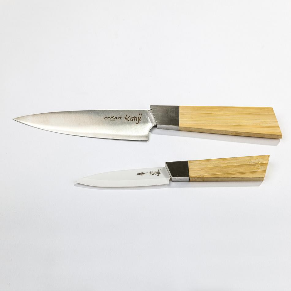 COOKUT Keramický a oceľový nôž Kanji, bambusová rukoväť, sada 2 nožov