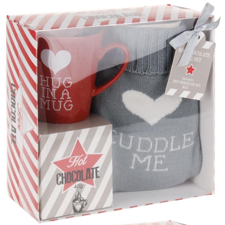 Darčeková sada hrnčeka, horúcej čokolády a fľaše s návlekom Cuddle me, červená