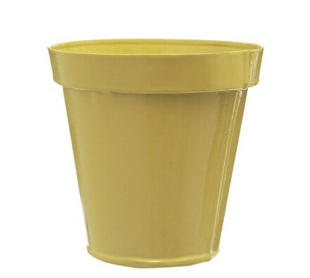 Plechový květináč, žlutá