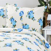Bavlněné povlečení Květiny modrá, 140 x 200 cm, 70 x 90 cm