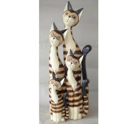 Dřevěná dekorace kočka sedící