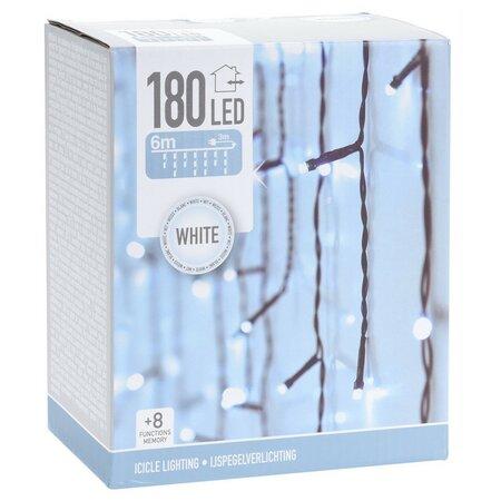 Icicle karácsonyi fényfüzér, fehér, 180 LED-es