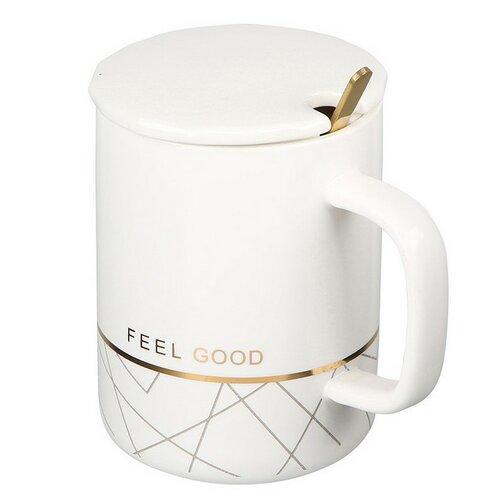 Altom Porcelánový hrnček Modern Feel s viečkom 350 ml, biela