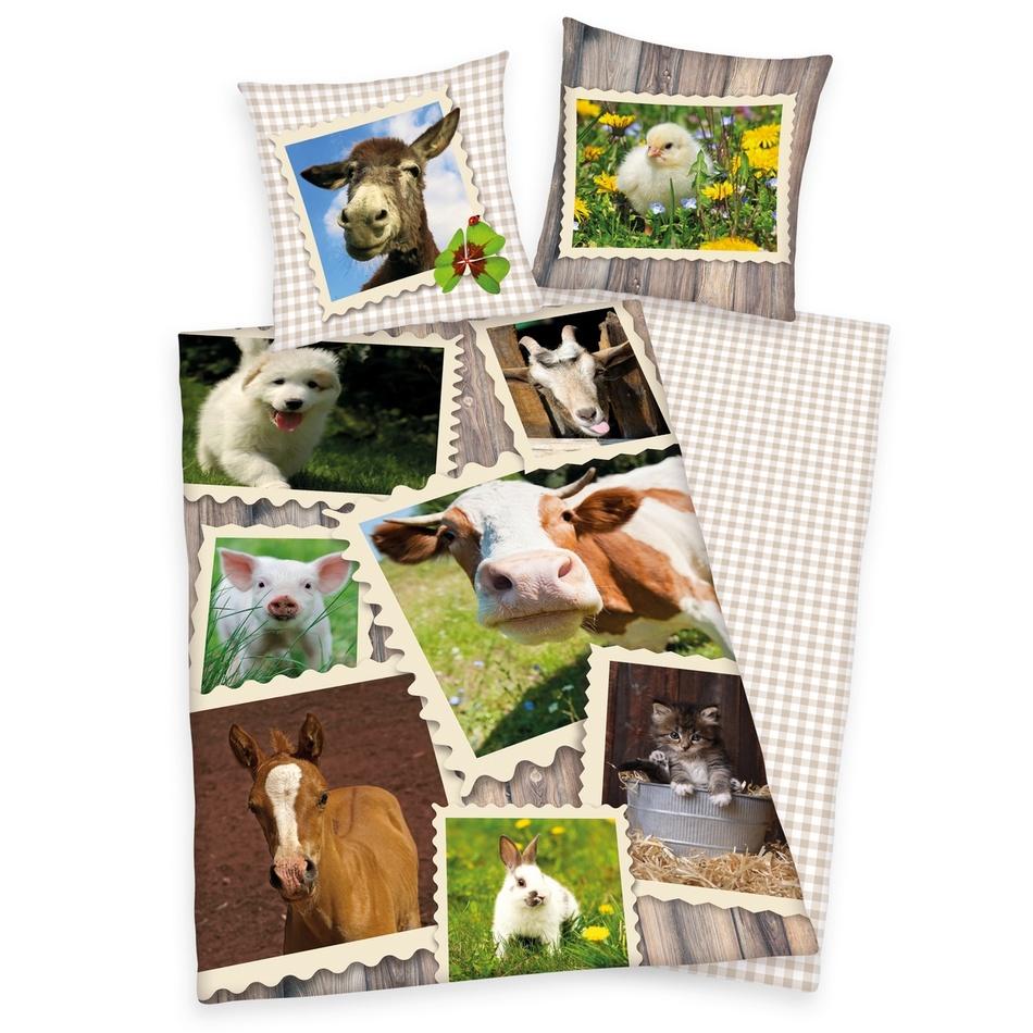 Herding Bavlněné povlečení Zvířátka na farmě, 140 x 200 cm, 70 x 90 cm