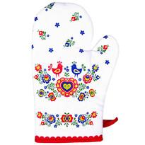Rękawica kuchenna Folklor czerwona, 17 x 28 cm