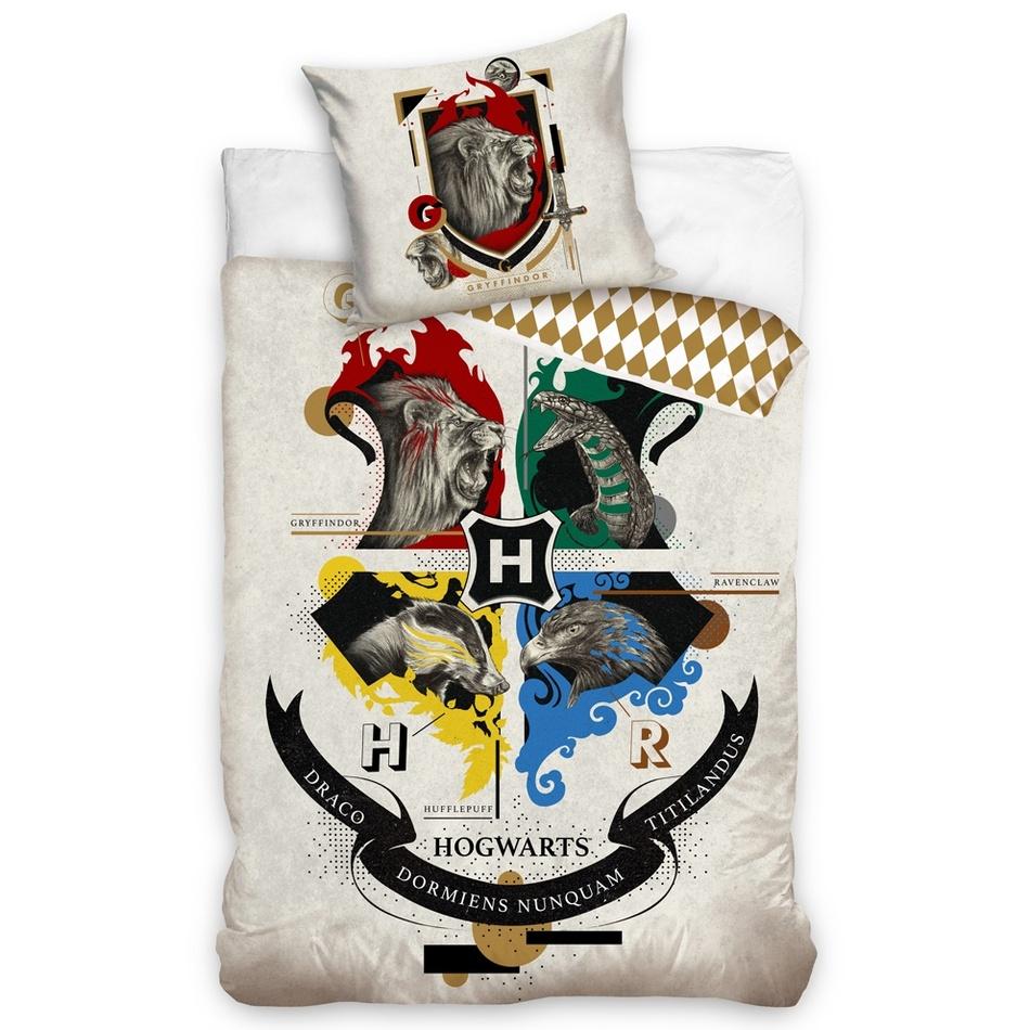 Carbotex Dětské bavlněné povlečení Harry Potter Erb Bradavic, 140 x 200 cm, 70 x 90 cm