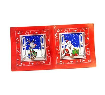 Podnos vánoční dekor, sklo, obdélník, červená, 39 x 20,5 cm