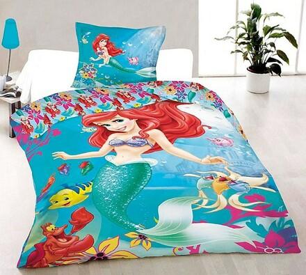 Dětské bavlněné povlečení Malá mořská víla Ariel, , modrá, 140 x 200 cm, 70 x 90 cm