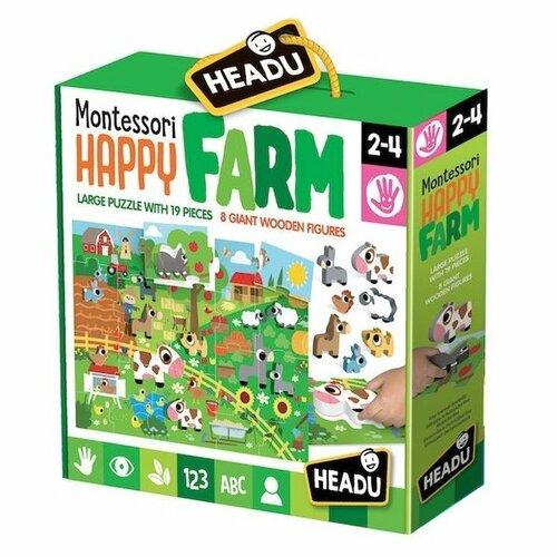 Headu Puzzle Farma z 8 drewnianymi figurkami wkładanymi (Montessori)