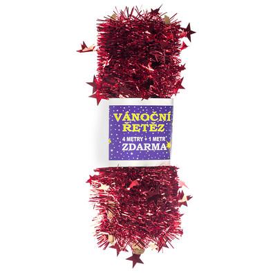 Karácsonyi lánc csillagokkal, piros, 4 m + 1m INGYEN