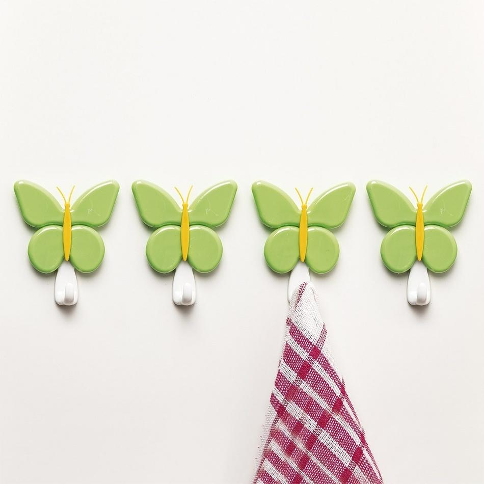 4Home  4dielna sada vešiakov motýľ,