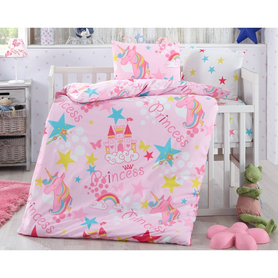 BedTex Detské bavlnené obliečky do postieľky Jednorožci, 100 x 135 cm, 40 x 60 cm