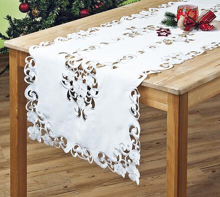 Bílý ubrus s výšivkou, 50 x 140 cm