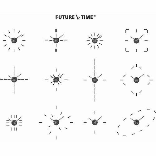 Ceas de design Future Time FT9400TT Modular titanium, autoadeziv, diam. 40 cm