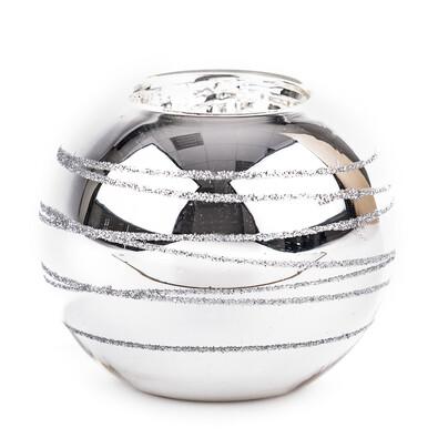 Svícen koule stříbrná