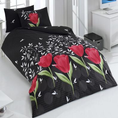 Bavlnené obliečky Vals Čierna, 220 x 200 cm, 2 ks 70 x 90 cm, 2 ks 50 x 70 cm