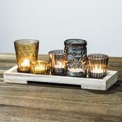 Set pěti skleněných svícnů