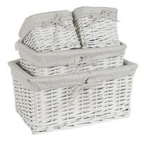 Koszyk wiklinowy, zestaw 4 szt. biały