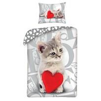 Detské bavlnené obliečky Love Cat, 140 x 200 cm, 70 x 90 cm