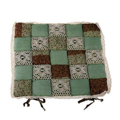 Pernă scaun Patchwork, verde închis cu dantelă, 40 x 40 cm