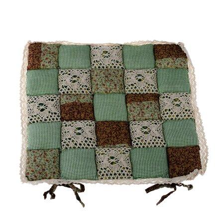 Kockás steppelt ülőke, sötétzöld, csipkés, 40 x 40 cm