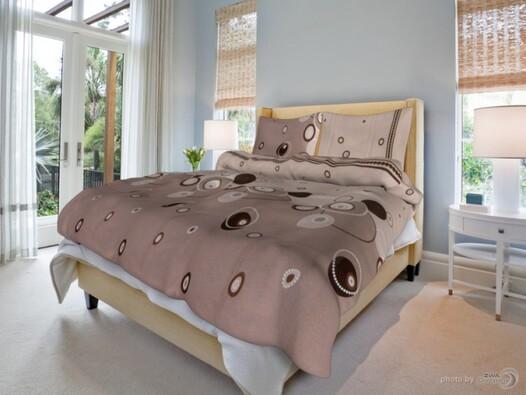 Bavlněné povlečení Perličky béž.,140x200 cm,70x90