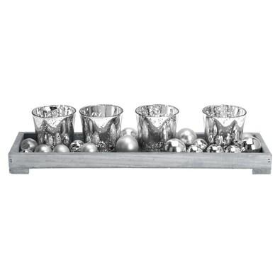 Stojan na čajové svíčky stříbrná