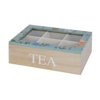 Koopman Box na čajové sáčky Květina, modrá