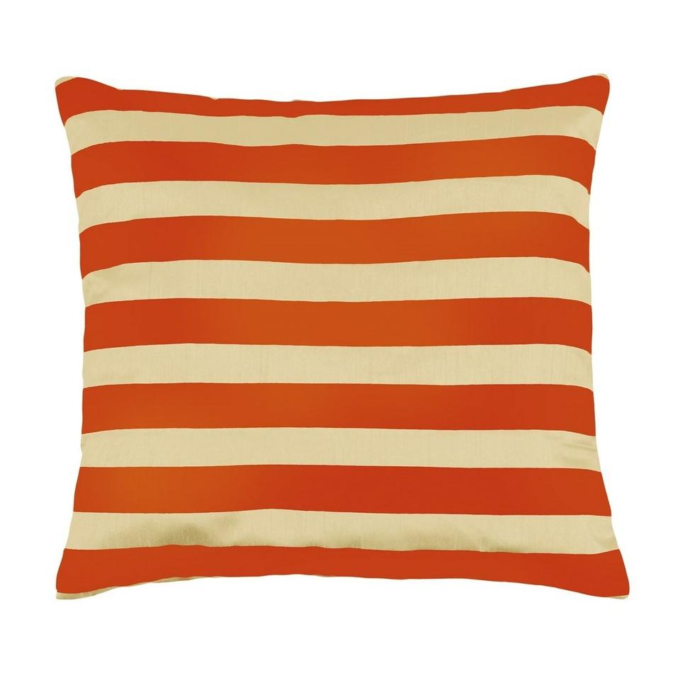Bellatex vankúšik Leona - pruhy vanilka, oranžová, 45 x 45 cm