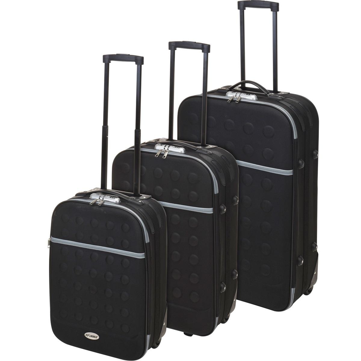 Koopman Sada textilních kufrů na kolečkách 3 ks, černá
