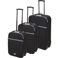 Koopman Sada textilných kufrov na kolieskach 3 ks, čierna