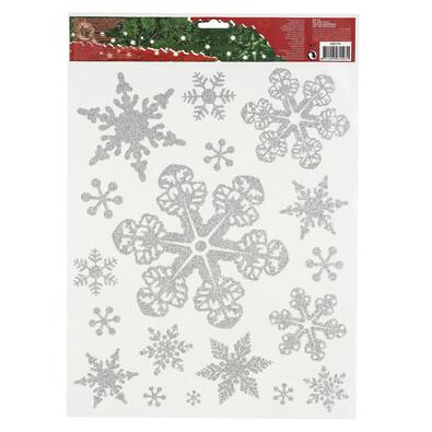 Vánoční okenní dekorace vločky stříbrná